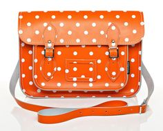 Orange and White Polka Dot Leather Satchel by Zatchels...lots of great colors!