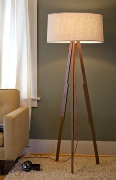 Modern Floor Lamp walnut by amplefurniture on Etsy. $590.00 USD, via Etsy.