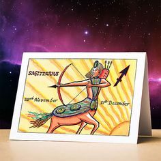 Astrological birthday cards and calendars from Astrocards Sagittarius Birthday, Sagittarius Star Sign, 12 Zodiac, Zodiac Signs, Order Up, Cardio, Astrology, Birthday Cards, December