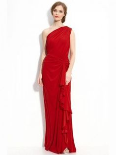 Sheath/Column One-Shoulder Ruffles Sleeveless Floor-Length Chiffon Dresses
