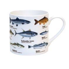 Gift Republic Multi Fish Bone China Ecologie Mug. Delivery is Free Coffee Mug Sets, Mugs Set, Tea Cup Saucer, Tea Cups, Wrendale Designs, Animal Mugs, China Cups And Saucers, Espresso Cups Set, Mugs For Sale