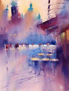 "culturenlifestyle: "" Expressive Cityscape Watercolor Paintings by Viktoria Prischedko German artist Viktoria Prischedko was born and raised in Moldova. The awarded and notable watercolor artist has. Watercolor Artists, Watercolor Landscape, Watercolor And Ink, Watercolour Paintings, Watercolors, Art Aquarelle, Urban Sketching, Art Abstrait, Japanese Artists"