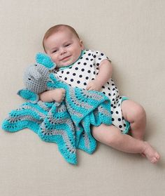 Cutie Elephant Blankie Free Crochet Pattern in Red Heart Yarns - Babies enjoy the hugs and comfort of this plush little elephant.