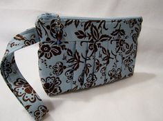 Pleated Wristlet  Clutch   Blue and Brown by FelicitiesCrafts, $20.00