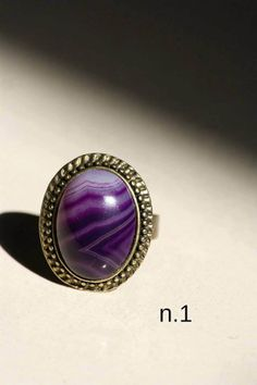 Anello vintage retrò regolabile con pietra di DIYGIOIELLIePIETRE, €8.00  Vintage ring made by hand with cabochon gemstone Agate