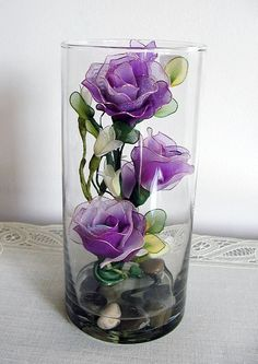 Handmade small Purple Roses Arrangement in the Glass by LiYunFlora