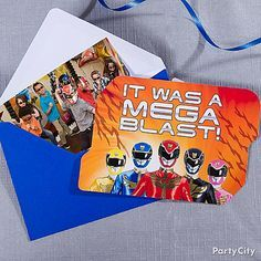 Send out Power Rangers thank you notes to every guest for helping make your birthday boy's party a mega-blast! Include a pic of the party as a post-party favor!
