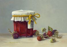 Stilleven met bramen en jampot, 13 x 18 cm, olieverf op paneel. Verkocht