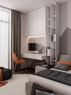 Penthouse Interior Design With Orange Accents home design Study Room Design, Small Room Design, Kids Room Design, Home Office Design, Home Office Decor, Home Decor, Office Style, Small Room Bedroom, Modern Bedroom