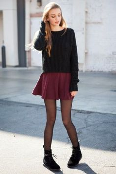 black pullover sweater // burgundy mini skirt // tights // laced boots