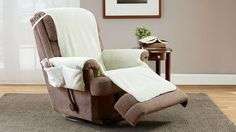 Recliner Chair Protective Cover- The blissfully toasty poly/acrylic fabric of this Fleecy Recliner Cover feels like real sheepskin. Adds comfort, warmth, and protection from spills and pet hair. Built-in pockets for handy access to your remote and other electronic devices. #BulbHead #giftideas #comfort #comfy #chair #clean #ValentinesDay #gift