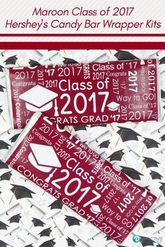 Hard to find color - Maroon Class of 2017 Graduation Hershey's Bar Candy Wrappers Kit!