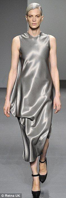 Grey pride: Kristen McMenamy on the catwalk at Calvin Klein!