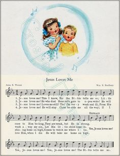 Jesus Loves Me Hymn Art Note Cards and Nursery Wall by GospelHymns