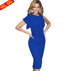 Classic Evening or Work Knee Lenght Dress 3 Colors S-5X