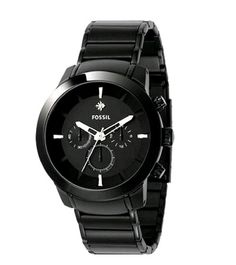 Fossil Men's Black Stainless Steel Bracelet Black Analog Dial Chronograph Watch. Water-resistant to 165 feet M). Black Stainless Steel, Stainless Steel Watch, Stainless Steel Bracelet, Fossil Watches For Men, Men's Watches, Black Watches, Wrist Watches, Watches Online, Best Watch Brands