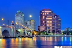 West Palm Beach | west-palm-beach-skyline-early-moring-during-fullmoon-setting