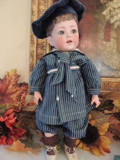 "15"" Antique German Bisque Doll Toddler, Painted Hair - Ashley's Dolls #dollshopsunited"