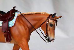 Drastic Custom Model Horse Resin Breyer Peter Stone Chestnut Western Tack