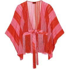 Missoni Mare fringed metallic crochet-knit kimono (€300) ❤ liked on Polyvore featuring missoni