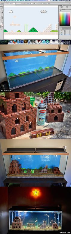 This Is How A Super Mario Bros. Aquarium Get Built From Scratch! in fish tank ideas Gaming Desks Super Mario Bros, Aquariums Super, Mario Room, Geek Decor, Ideias Diy, Gamer Room, Mario Party, Home Projects, Kids Room