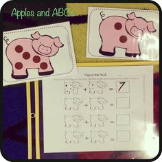 Addition with pigs!  Kids draw two cards and fill in the dots on the pigs.  Then they complete the equation.