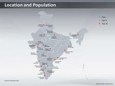 PPT Map showing leading Tier I, II, III Cities in India