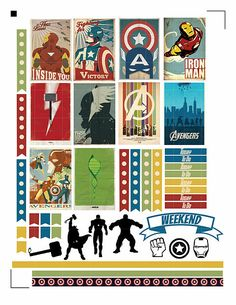 Free Printable Avenger Planner Stickers with silhouette file and PDF.