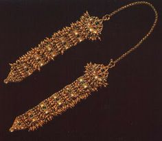 Jhela with chain, Jaipur  The gold jhela head ornament—has been carefully crafted to drape over the head and fall to either side of the face...