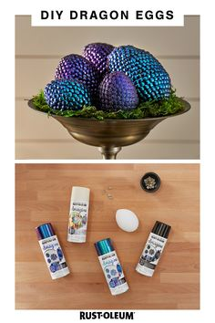Make your own dragon eggs this Halloween with a few simple craft supplies and spray paint from Rust-Oleum Imagine spray paints. Diy Home Crafts, Cute Crafts, Fall Crafts, Holiday Crafts, Crafts To Make, Crafts For Kids, Arts And Crafts, Toddler Crafts, Whimsical Halloween