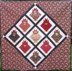 Buttons Bees Quilt Pattern Hen Party Chickens | eBay | chicken ... : chicken quilt block - Adamdwight.com