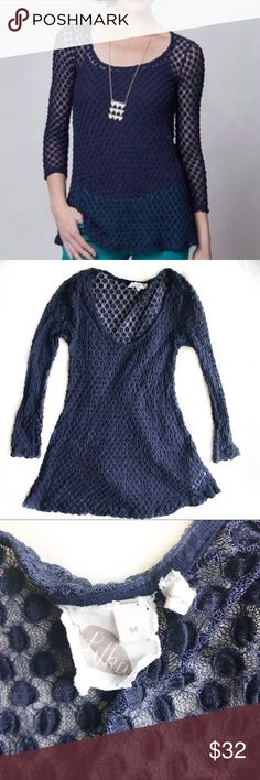Anthro Lilka Navy Bubble Lace Tee EUC! Size medium. Color: navy. See