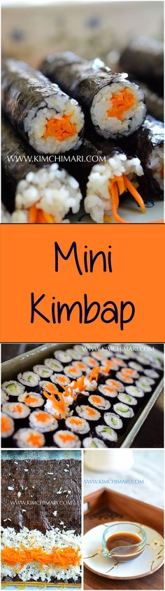 Mini Kimbap is easy to make and is delicious with the magic mustard soy sauce.  Great for parties and picnics.  | Kimchimari.com