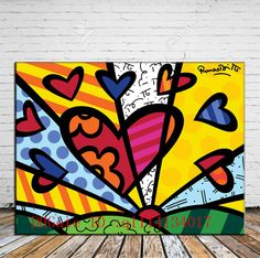 Romero Britto, Home Decor HD Print Painting on Canvas /No Stretch/Unframed Arte Pop, Art Education Projects, Art Projects, Art Lessons Elementary, Elements Of Art, Bedroom Art, Heart Art, Teaching Art, Oil Painting On Canvas