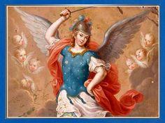 En el nombre de Dios todopoderoso  te llamo e invoco amado Arcángel san Miguel,  junto a tus legiones de Ángeles de la fe,  par...