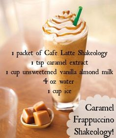 Caramel Frappucino Shakeology - use chocolate instead of cafe latte 21 Day Fix, Shakeology Shakes, Beachbody Shakeology, Vanilla Shakeology, Chocolate Shakeology, Shakeology Cafe Latte, Herbalife Recipes, Herbalife Shake, Protein Shake Recipes