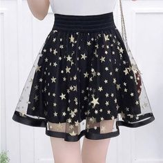 Star Printed Mesh Insert High Waist Mini A-Line Skirt, Fashion Style Skirts Teen Fashion Outfits, Mode Outfits, Casual Outfits, Fashion Dresses, Womens Fashion, Kawaii Fashion, Cute Fashion, 70s Fashion, Fasion