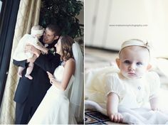 Bride, groom, and daughter, tiny flower girl