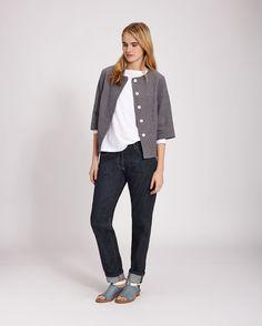 round neck linen jacket (Toast)