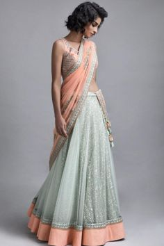 Indian fashion has changed with each passing era. The Indian fashion industry is rising by leaps and bounds, and every month one witnesses some new trend o Indian Wedding Outfits, Indian Outfits, Indian Clothes, Indian Attire, Indian Wear, Indian Style, Blue Lehenga, Indian Lehenga, Lehnga Dress