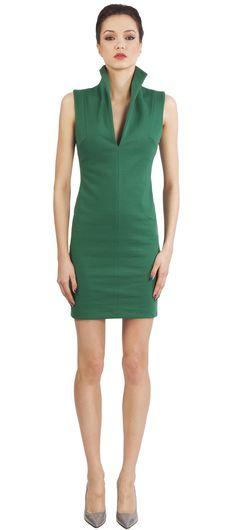 Catherine Malandrino: Open back dress with fururistic high collar