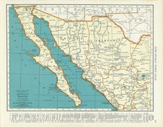 1939 #Vintage Map of Western #Mexico - #Baja. #Chihuahua, #Sonora, #Durango brought to you by #ParksidePatch on #Etsy