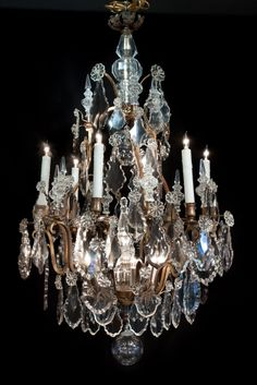 LA-5296  45''H  26''Diam.  Louis XV style bronze and crystal chandelier.  19th century.  13 lights