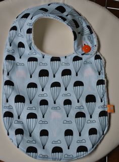 Up, Up and Away!...Modern Blue and White Hot Air Balloon Baby / Infant / Toddler Bib
