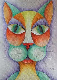 Rostro felino. Acuarela y lápices de color. Conéctate con tus emociones y sentimientos a través del arte.   Connect with your emotions and feelings through art. #ilustración #arte #art