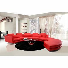 Divani Casa A94 - Contemporary Leather Sectional Sofa & Ottoman (Red / Coffee Table Shown Not Included)