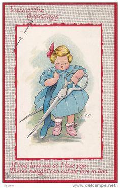 VALENTINE´S DAY: Artist E CURTIS , Child w/ scissors , TUCK 's Love Labor Series , PU-1911