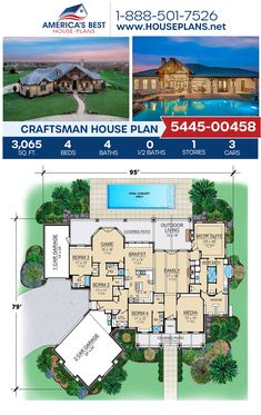 A goregous 1-story Craftsman home design, Plan 5445-00458 delivers 3,065 sq. ft., 4 bedrooms, 4 bathrooms, a breakfast nook, an open floor plan, and a media room. #craftsman #architecture #houseplans #housedesign #homedesign #homedesigns #architecturalplans #newconstruction #floorplans #dreamhome #dreamhouseplans #abhouseplans #besthouseplans #newhome #newhouse #homesweethome #buildingahome #buildahome #residentialplans #residentialhome Craftsman Style Homes, Craftsman House Plans, Best House Plans, Dream House Plans, Architectural Elements, Open Floor, Building A House, New Homes