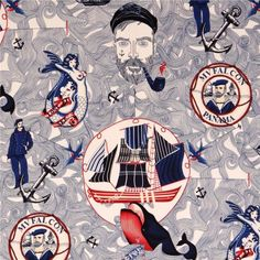 Lost At Sea sailor fabric by Alexander Henry USA