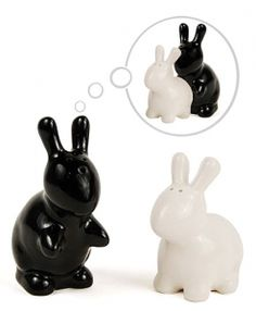 Vintage small white bunny Salt and Pepper